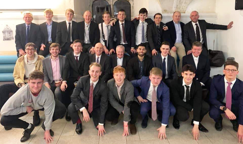 Exeter College football dinner guests pose before dinner on 25th January 2020